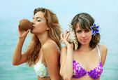 Girls with coconut — Stock Photo