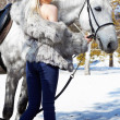 Beautiful girl with horse - Stockfoto