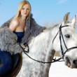 Woman and horse - Lizenzfreies Foto
