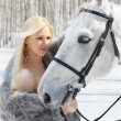 Beautiful girl with horse — ストック写真