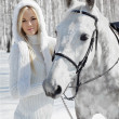 Beautiful girl with horse — Foto de Stock