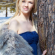 Girl in fur outdoors — Stock Photo #5674692