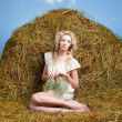 Country girl on hay — Stock Photo #5714022