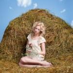 Mädchen vom Lande auf Heu — Stockfoto