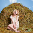 Country girl on hay — Stock Photo #5714072