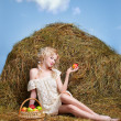 Country girl on hay — Stock Photo #5714212
