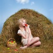 Country girl on hay — 图库照片