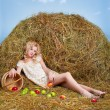 Country girl on hay — Stok fotoğraf