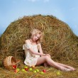 Country girl on hay — Stock Photo #5714380