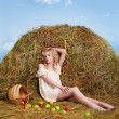 Country girl on hay — Stock Photo #5714398