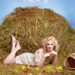Country girl on hay — Stock Photo #5714400