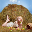 Country girl on hay — Stock Photo #5714405