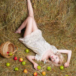Country girl on hay — Stock Photo #5714440