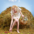 Country girl on hay — Stock Photo #5714485