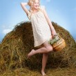 Country girl on hay — Stock Photo #5714501