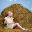 Country girl on hay — Stock Photo #5715016