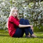 Beautiful blonde outdoors — Stock Photo