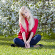 Beautiful blonde outdoors — Stock Photo
