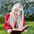Girl outdoors with book — Stock Photo