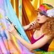 Woman  artist painting - Stock Photo