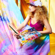 Woman artist painting — Stock Photo #6351492