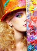 Mulher do artista — Foto Stock