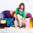 Shopaholic woman with purchases — Stock Photo #6450785