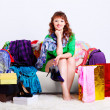 Stock Photo: Shopaholic woman with purchases