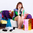 Shopaholic woman with purchases — Stock Photo #6450818
