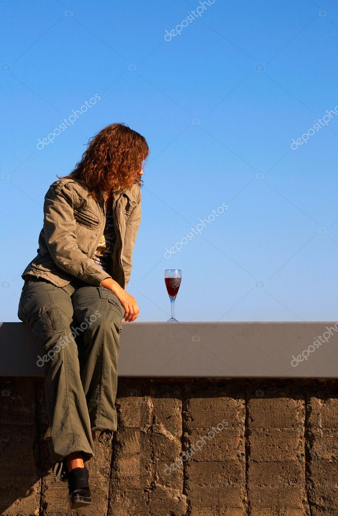 Lonely Girl with wine glass — Stock Photo #6734466