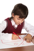 Boy drawing house — Stock Photo
