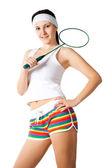 Mulher com raquete de badminton — Foto Stock