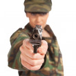 Army girl holding gun — Foto de Stock