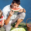 Man eating watermelon — Stock Photo