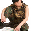 Army girl with map — Stock Photo