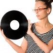 Woman with vinyl plate - Foto Stock