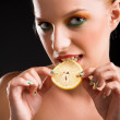 Woman with lemon — Stock Photo