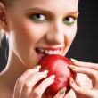 Woman with apple — Foto de Stock