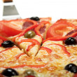 Pizza with salami — Stok fotoğraf