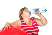 Tired fat woman — Stock Photo