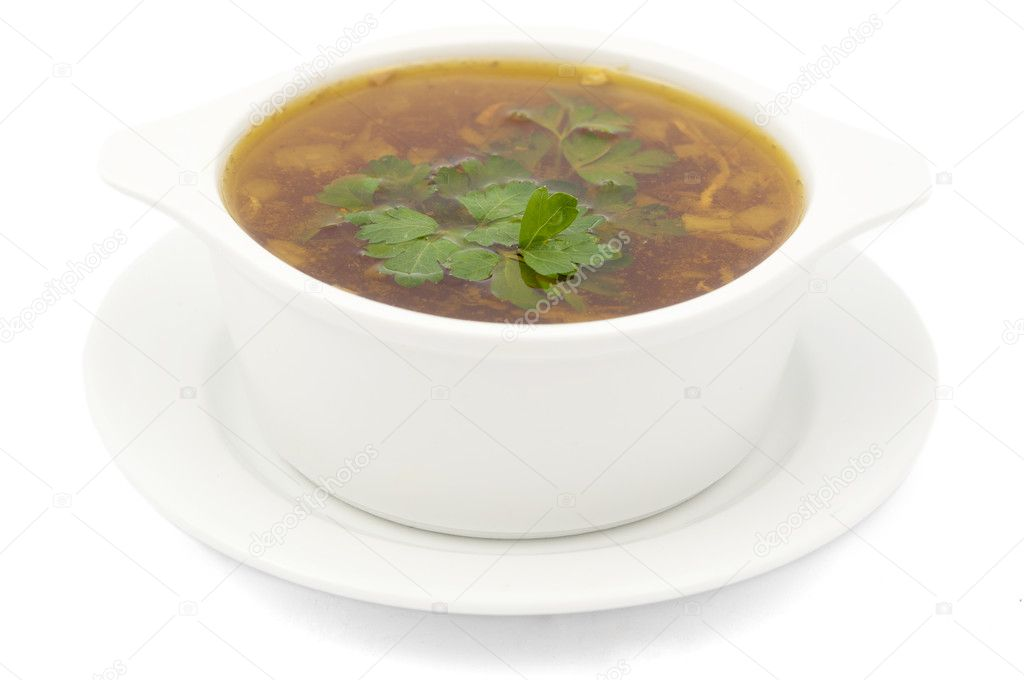 Chicken soup on a white background  Stock Photo #5608305