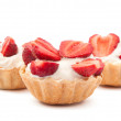 Strawberries and cream in basket — Stock Photo #5782847