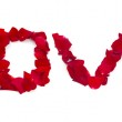 """The word """"love"""" of rose petals — Stock Photo"""