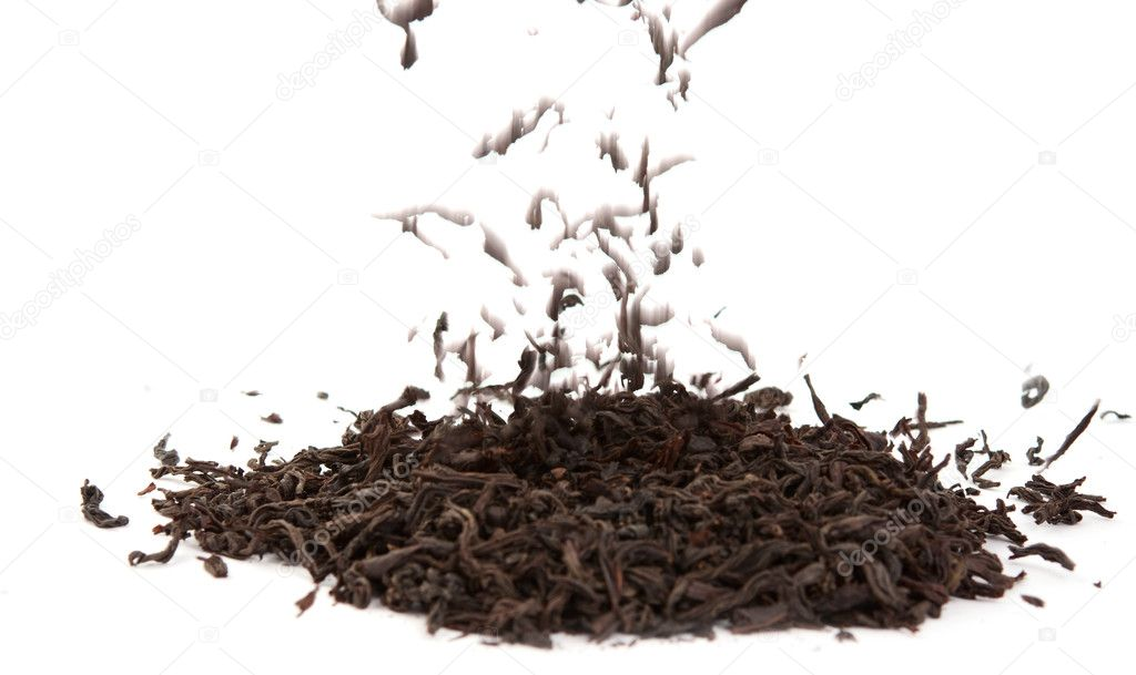 Dry black tea on a white background  Stock Photo #6454203