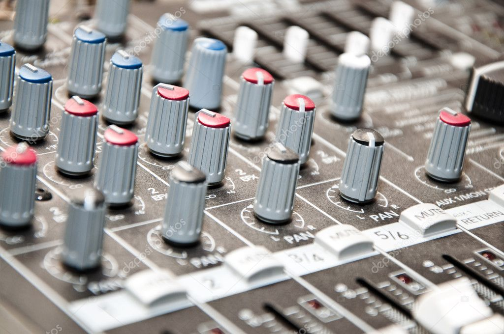 Close up shot of sound mixer in studio — Stock Photo #5479389