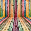 Multicolored wooden interior — Stock Photo