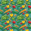 Seamless pattern with vegetables and fruits — Stock Vector