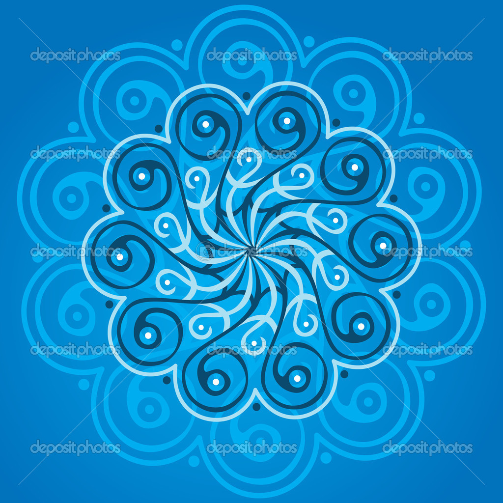 Blue mandala - vector illustration — Stock Vector #6387240