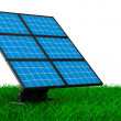 Solar battery on grass. Isolated 3d image - Stock Photo