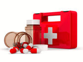 First aid kit on white background. Isolated 3D image — Stock Photo